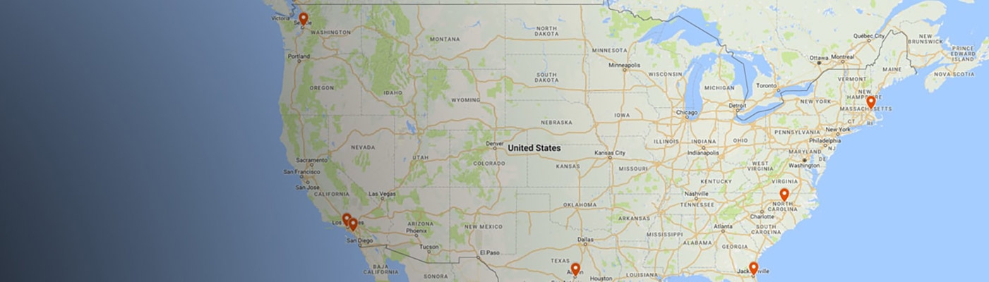 US map on contact page with map pins for Job Market Solutions locations