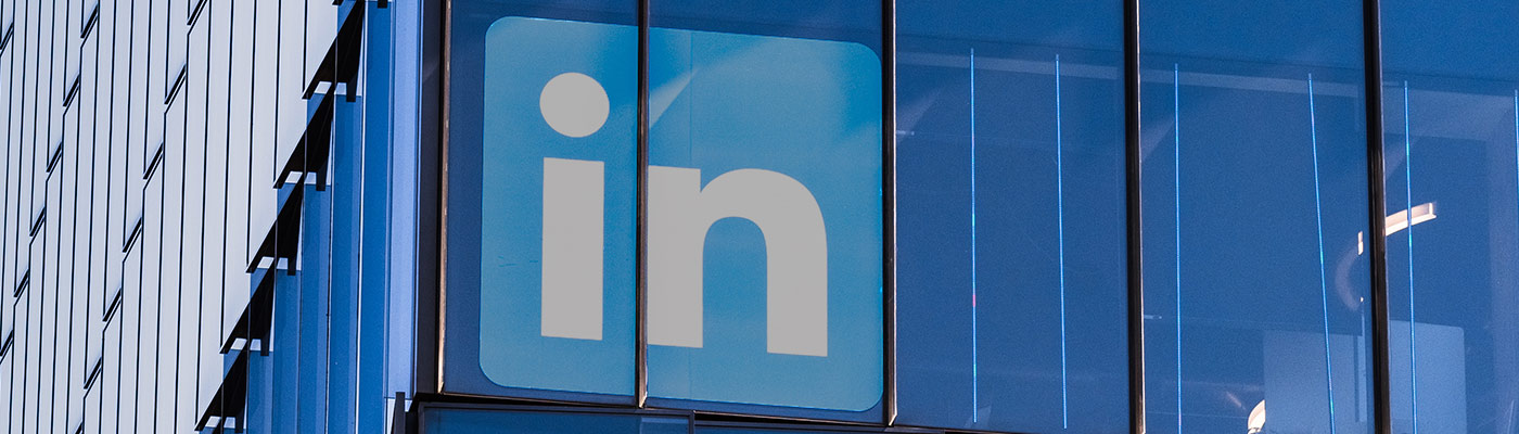 exterior of blue building with LinkedIn signage depicting LinkedIn makeover services